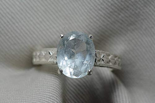 (Aquamarine Ring, Aquamarine Solitaire 4.57 Carats Appraised At 675.00 Sterling Silver, Genuine Real Natural, March Birthstone Jewelry)