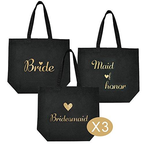 ElegantPark 1 Pcs Bride Tote Bag +1 Pcs Maid of Honor Bag + 3 Pcs Bridesmaid Tote Bags Set for Women's Wedding Favors Bride Bachelorette Gift Black with Gold Script 100% Cotton