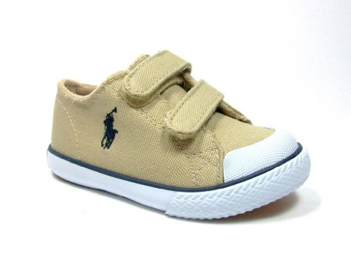 New Ralph Lauren Khaki (New Ralph Lauren Polo Toddler Boys Chandler EZ Khaki Canvas Sneaker Shoes feat Velcro Straps)