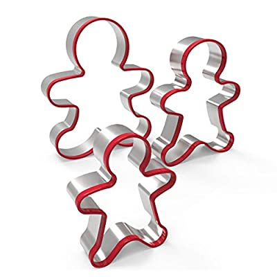 FASAKA Cookie Cutter Set - 3 Piece Christmas Set Gingerbread Man Cookie Cutter Set - Stainless Steel with Red Environmental PVC