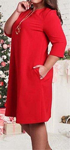 Slaccia Una Solido Mezza Vestito Partito Rosso Manica Cromoncent Formato Linea Da Più Womens YHxZ0Z