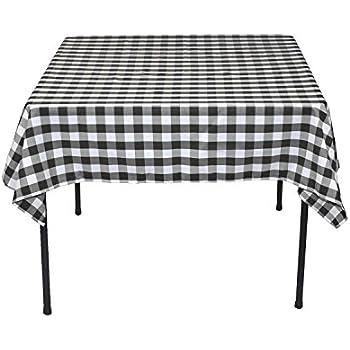 LinenTablecloth 54 Inch Square Polyester Tablecloth Black U0026 White Checker