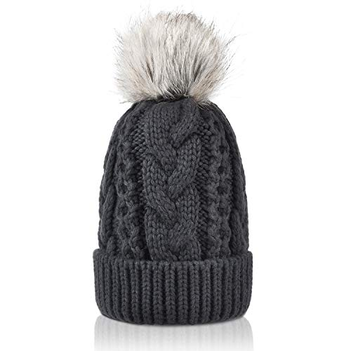 Winter Thick Cable Knit Faux Fuzzy Fur Pom Pom Sherpa Lined Skull Ski Cap Cuff Beanie Grey
