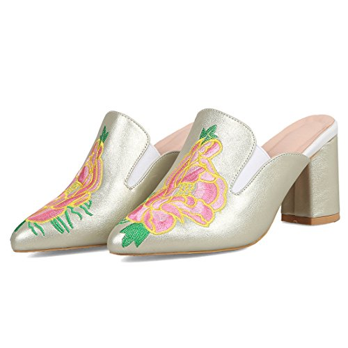 Outdoor Green Women's Toe Pointed Slingback Heel Slippers Mules Embroidery Artfaerie Loafer Chunky zdfqwxwP