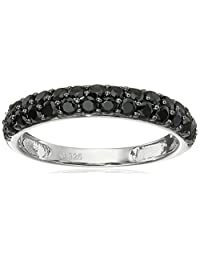 Sterling Silver Black Spinel Round Stackable Ring, Size 7