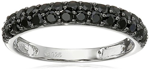 August birthstone Black Spinel Round Stackable Ring, Size 7