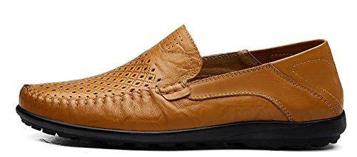 Louechy Zapatillas Slip-on Para Hombre Liberia Comfort Driving Zapatos Zapato Casual De Cuero Ocre-ponche