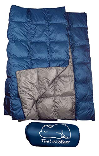"The Big Blue Mtn Lightweight Puffy Camping Blanket for Camping Hiking Backpacking Stadium Travel with Stuff Sack (Navy Gray, 74"" X 48"")"