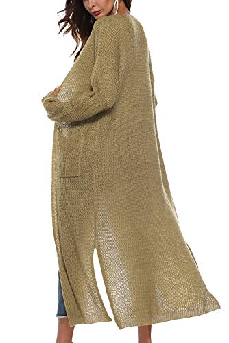 Aibayleef Invierno de Maxi larga largo de Chaleco Su suelto con Oto o manga Cardigan punto abierto mujer punto largo abrigo rn6q7rU1wx