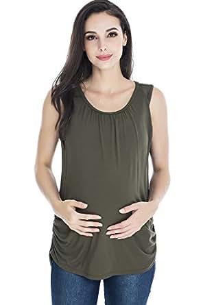 Smallshow Women's Maternity Nursing Tank Top Sleeveless Comfy Breastfeeding Clothes,Olive Green,Small