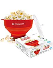 Collapsible Silicone Microwave Hot Air Popcorn Popper Bowl With Lid and Handles - Red