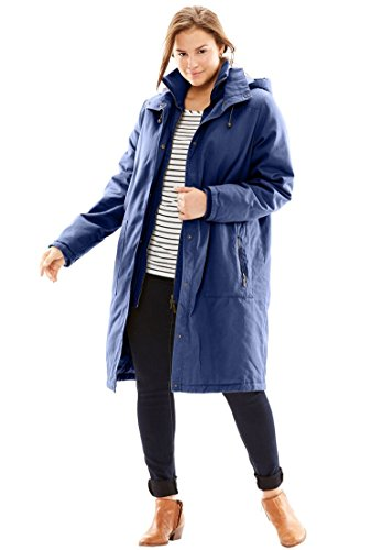 Women's Plus Size Jacket, Stadium Style In Twill Navy,1X by Woman Within