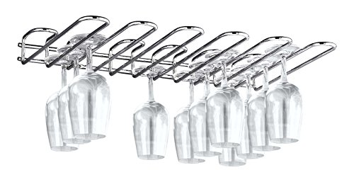 Paderno World Cuisine A4406002 Chromed Steel Wall Mounted Glass Rack