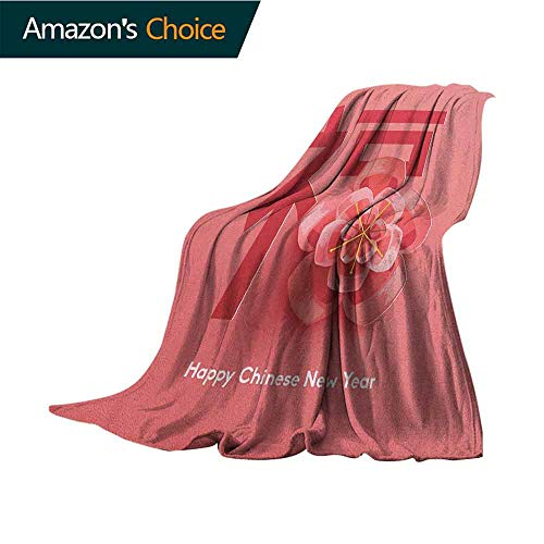 Chinese New Year Bed Blanket,Flower with a Celebration Phrase in Pink Shades Asian Tradition for Bed & Couch Sofa Easy Care,30