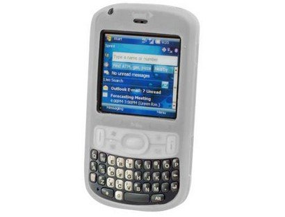 Premium Clear/White Silicone Cover Soft Rubber Gel Case for Palm Treo 800w [Retail Packaging]