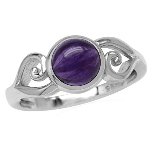 7MM Round Shape Cabochon Purple Amethyst 925 Sterling Silver Swirl & Spiral Style Solitaire Ring Size 6