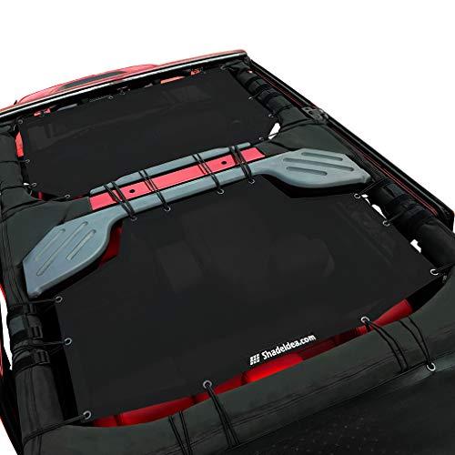Shadeidea Jeep Wrangler Sun Shade JK Unlimited 4 Door-Black Mesh Screen Sunshade JKU Top Cover UV Blocker with Grab Bag-One time Install 10 years Warranty ()