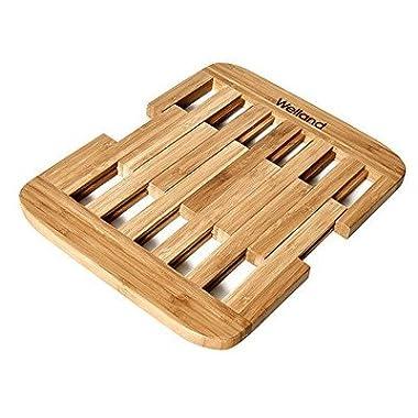 Welland Bamboo Expandable Trivets, Heavy Duty Hot Pot Holder Pads