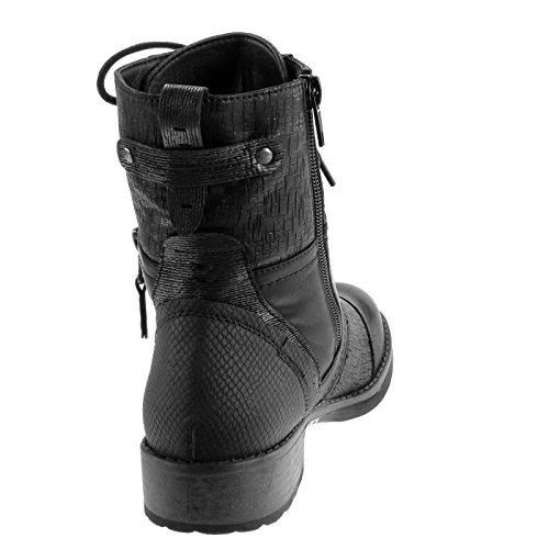3 Stivaletti Lacci Da Combattimento Di Serpente Heel Shoes Stivali Women's Pelle Block Booty Cavalier Angkorly Metallic Black Fashion Cm taqgwnF