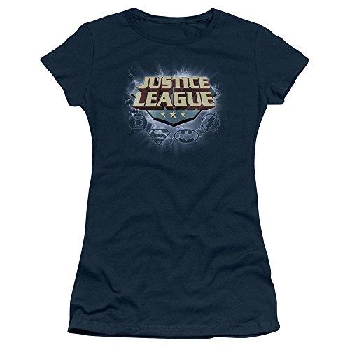 (Trevco JLA Storm Logo Juniors' Sheer Fitted T Shirt, Medium Navy)