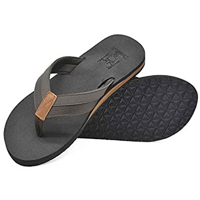 KUAILU Men's Yoga Mat Leather Flip Flops Thong Sandals with Arch Support Brown Size: 7