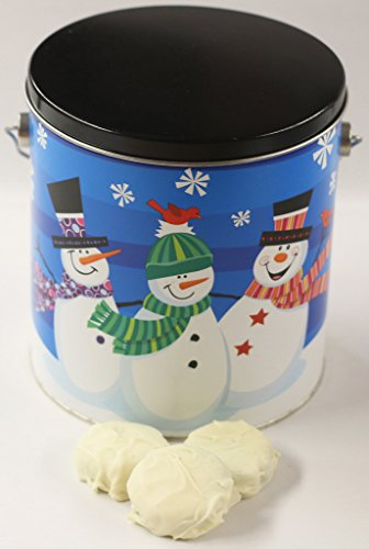(Scott's Cakes White Chocolate Covered Peanut Butter Oreos in a Whimsical Snowman Pail)