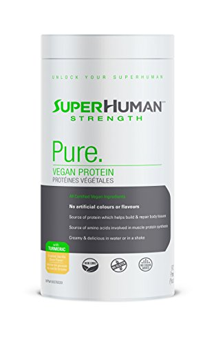 SuperHuman Strength Pure Vegan Protein Supplement - Vanilla Flavor Protein Powder with Turmeric, 975g by SuperHuman Strength