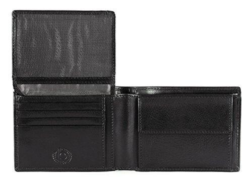 Bugatti Romano Geldbörse Echtleder, Querformat, Schwarz Schwarz