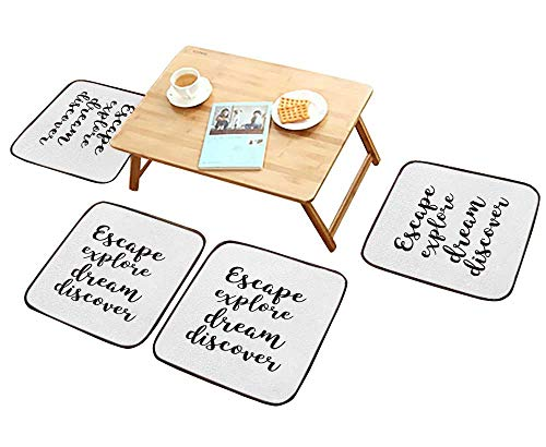 HuaWu-home Modern Chair Cushions Hand Drawn Lettering Modern Brush Calligraphy Isolated on White Escape exploredream Discover Convenient Safety and Hygiene W23.5 x L23.5/4PCS Set