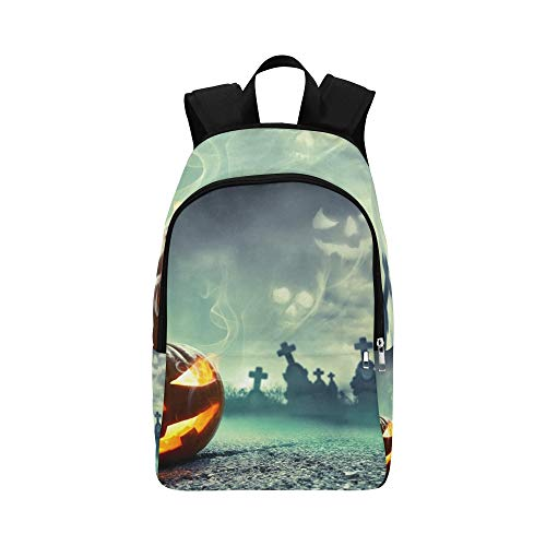 Pumpkin Burning Graveyard Ghost Nightmare Casual Daypack Travel Bag College School Backpack for Mens and Women -