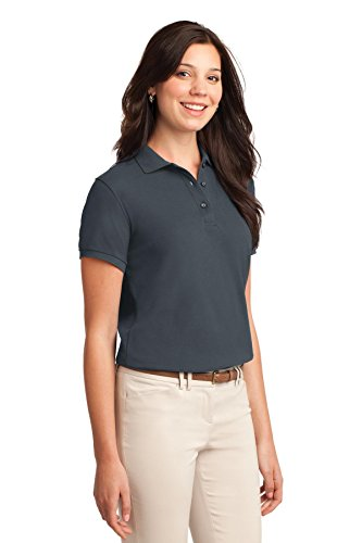 Port Authority Ladies Silk Touch Polo. L500 Steel Grey 6OFV0E42uh