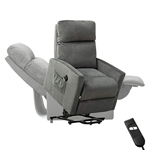 Power Lift Chair,BONZY HOME Electric Lift Recliner Sofa Lounge 90 to 150 Degree Adjustable Padded Seat with Bag Headrest Backrest Footrest in Living Gaming Makeup Office Room (Gray)