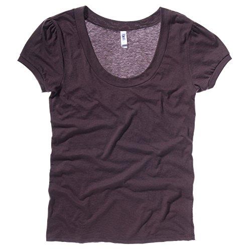 [Bella + Canvas Womens/Ladies Vintage Jersey Scoop Neck Short Sleeve T-Shirt (2XL) (Chocolate)] (Shirred Puff Sleeve Tops)