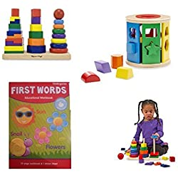 "Melissa & Doug geometric Stacker and Shape Sorting Drum with BONUS ""First Words"" workbook"