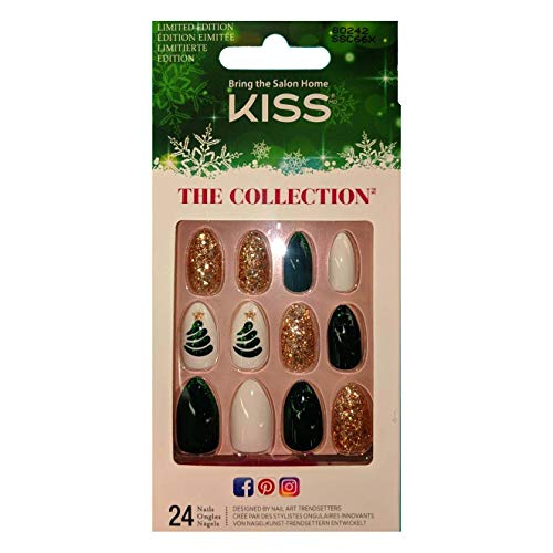 Kiss (1) Box The Collection 24pc Glue-On Nails - Limited Holiday Edition - 7 Day Wear - Gold Glitter & Confetti, Very Dark Green & Glitter, White, Green & Gold Glitter Christmas Tree - #80242