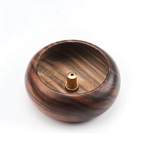 ZeeStar Mini Round Wooden Holder Incense Burner Ash Catcher/Buddhist Supplies Bowl (Brown)