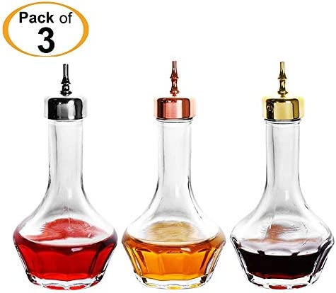 Bitters Bottle – Lead free Glass with Stainless Steel Dasher Top 50ml Professional Bar Tool for Making Craft Cocktails and the Perfect Whiskey DSBT0001 3pcs