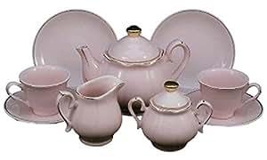 Princess Pink Fine China Child Sized Tea Party Tea Set Full Tea Service for Two and Keepsake Storage Hat Box,