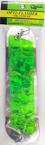 Opti Tackle Inticer Flasher Chrome Green Halo Plain Back 8-1/2 2 Fin