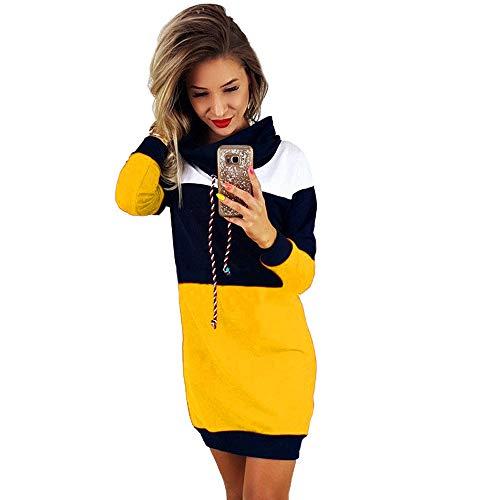 Skirt Crinkle Tier (Dressin Elegant Women Collared Long Sleeve Dress Ladies Casual Bodycon Short Mini Sundress Yellow)