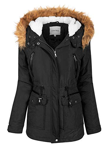 Instar Mode Women's Anorak Safari Jacket with Fleece Lined Hood with Fur Contrast Black M
