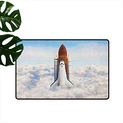 RenteriaDecor Outer Space,Doormats Rocket Taking Off on Mission Spaceman Planet Gazing Endeavour Power Print 16