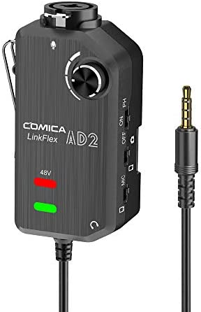 Comica LINKFLEX AD2 XLR/ 6.35mm Audio Preamp Adapter, with 48V Phantom Power, Real Time Monitor, Guitar Interface Microphone Preamp for iPhone, iOS, Android, Tablet and DSLR Cameras
