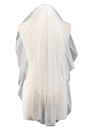 EllieHouse Women's 2 Tier Short Simple White Wedding Bridal Veil With Free Comb HL11WT