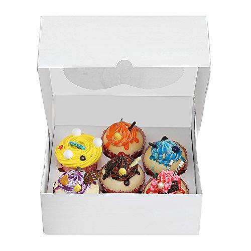 RomanticBaking 50pcs Pastry Cake Box Packaging For 6 Standard Cupcake Muffin Donut Macaron