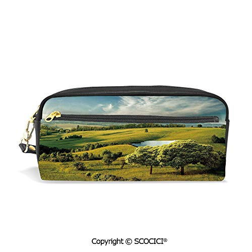 Girls Boys 3D Printed PU Pencil Case Holders Bag with Zipper Scenic Scenery Hilly Landscape with Lake and Blue Cloudy Sky Trees Meadow Countryside Stationery Makeup Cosmetic Bags Back to School