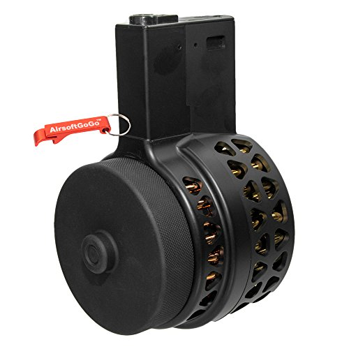 1000rds Drum Magazine for M4 / M16 Airsoft AEG (Black) - AirsoftGoGo Keychain Included by AirsoftGoGo