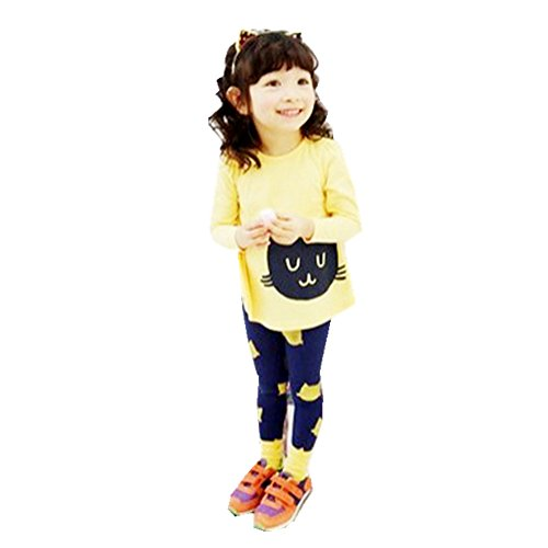 FTSUCQ Girls Cartoon Cat Shirt and Leggings Pants, Two-piece Sets,Yellow 110 (Cute 11 Year Old Guys)