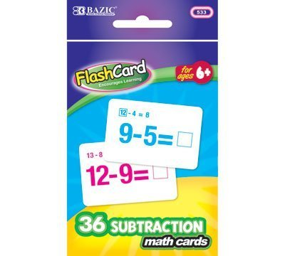 BAZIC Subtraction Flash Cards (36/Pack), Case Pack 24