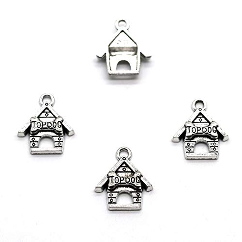 (MT 2007 Alloy Charms, Silver Tone Handmade Supply Charms, Handmade Craft, Handmade Jewelry Supply (60PCS JHS06 Dog House Charms))